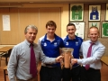 Dermot Ryan and Conor Gleeson Bring the All-Ireland Winning Minor Hurling Cup into the High School